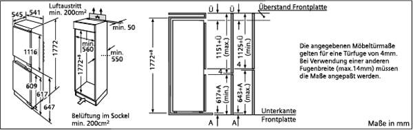 Встраиваемый комбинированный холодильник BOSCH KIS 87 AF 30.